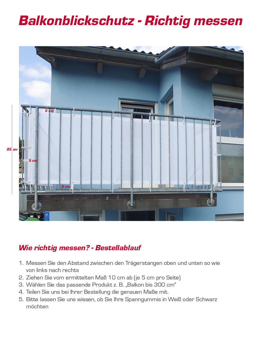 balkon blickschutz montagefertig mit saum sen individuell bedruckt. Black Bedroom Furniture Sets. Home Design Ideas